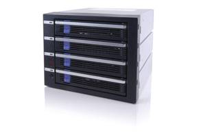 ICY DOCK MB454SPF-B 4 Hot Swap SATA 2 HDD in 3 x 5.25 Dive Bay Aluminum Rack w/Swappable Fan.